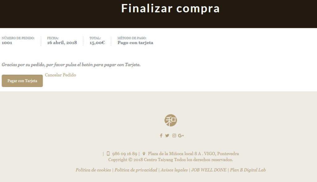 seleccionar forma de pago en tienda online de masajes taiyang vigo paso 3